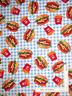 Hamburgers Burgers French Fries Blue Cotton Fabric Robert Kaufman By The Yard