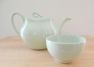 Vintage Johnson Bros GREEN CLOUD    Tea Pot -Made in England + Sugar Bowl