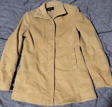 EXPRESS Womens Beige Corduroy Jacket Polo Sport Lined Button Down Coat 7/8 Tan
