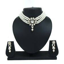 Beautiful Partywear Pearl Crystal Choker Necklace Earring Bollywood Jewelry Set