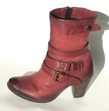 MJUS Italian Leather Ankle Boots, Distressed Wine, Size 36