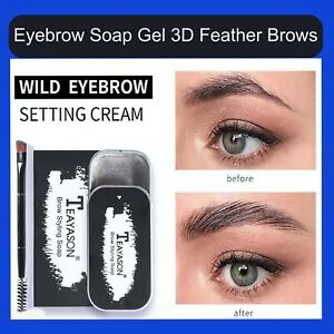 Eyebrow Soap Gel 3D Feather Brows Makeup Long Lasting Natural Tint Fixed & Brush