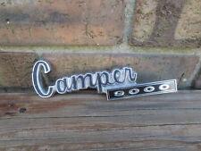 """Vintage Used Metal Dodge """"Camper 9000"""" Exterior Emblem Badge 7"""" Long"""