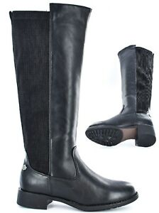 Ladies Faux Leather Classic Full Inside Zip High Leg Boot Size UK 3-8