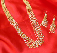 Indian Bollywood Pearl Strand Mala Chain Necklace Earring Wedding Jewelry Set
