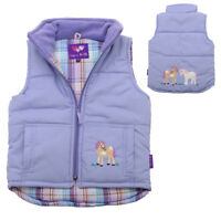 Childrens Girl's Lilac Purple Embroidered Horse Pony Gilet Body Warmer Kids