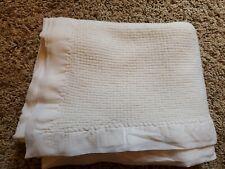 VTG WHITE Acrylic Waffle Weave Baby Morgan?? Blanket Nylon Satin Binding 36X50