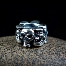 Genuine SOLID 925 Sterling Silver charm bead ring of skull goth EMO fit bracelet