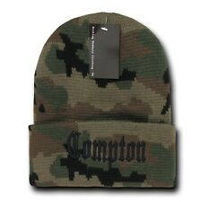 Camo & Black Compton Vintage Embroidered Hip Hop Cuffed Beanie Beanies Hat Hats