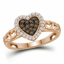 10kt Rose Gold Womens Round Brown Color Enhanced Diamond Heart Ring 1/4 Cttw