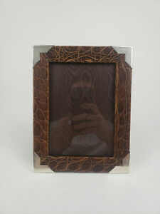 Vintage Ralph Lauren Picture Frame Alligator & Sterling Silver 4.5 x 6.5