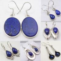 .925 SOLID STERLING Silver NAVY BLUE LAPIS LAZULI NEW Earrings, Choose Styles