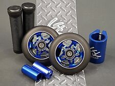 2xBlue Pro Star Black Metal Core Scooter Wheels +2Grips +2Pegs +Clamp +GKTape