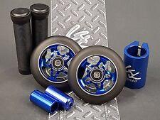 Blue Pro Star Black Metal Core Scooter Wheels x2 +Grips +Pegs +Clamp +GKTape