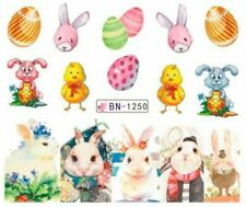 Nail Art Water Decals Stickers Transfers Easter Bunny Rabbit Chicks Eggs BN1250