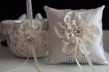 Ivory Cream Wedding Flower Girl Basket and Ring Bearer Pillow Set with brooch