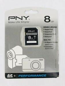 PNY Performance SDHC 8GB SD Memory Card C4 1.5hr HD Video New Sealed