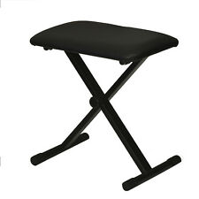 Black Adjustable Piano Keyboard Bench Leather Padded Seat Folding Stool Chair OU
