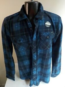 "O'NEILL LS ""Superfleece"" Plaid Snap Front Shirt-Blues-Poly-SZ LG Standard NWOT"