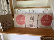 4 Brown Paper Chipotle Shopping Bags with Twisted Paper Handles