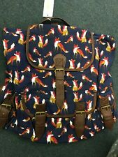 Ladies Girls Canvas Rucksack Backpack School Bag - Fox Design