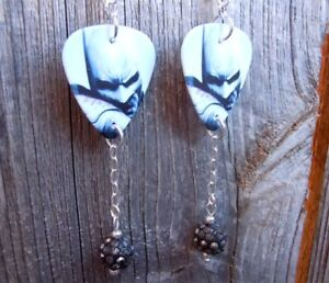 Batman Guitar Pick Earrings with Pewter Pave Bead Dangles