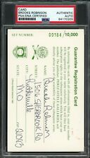 Brooks Robinson Signed Perez Steele Registration Card Baseball HOF PSA/DNA AUTO