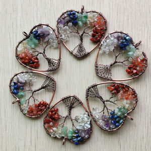 Wholesale 6pcs natural stone 7 colors wire wrapped tree of life heart pendants
