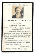 Memorial / death card Joseph Benoit, died Deschambault, Quebec 1913