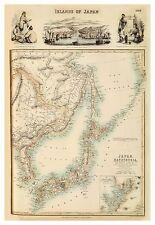 Old Vintage Islands of Japan map Fullarton ca. 1872