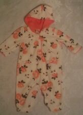 Just One You Girls Flower Fleece Jumpsuit Toddler Peach Cream Size 3 Months
