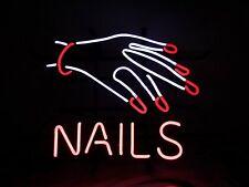 "Nails Fingers Open Neon Lamp Sign 17""x14"" Bar Light Glass Artwork"