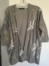 PERUVIAN CONNECTION Grey Cranes Meadow Pima Cotton Knit Open Cardigan M Rare