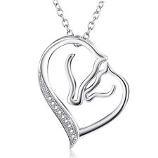 925 Sterling Silver Mother and Child Horse Head Heart Charms Pendant Necklace