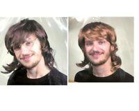 Men's Mullet Hair Wig Hippies 70s 80s  Bogan Fancy Dress Up Costume Brown