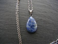 Water Drop Sodalite Stone Necklace Pendant Necklace Chakra Reiki Healing Boho