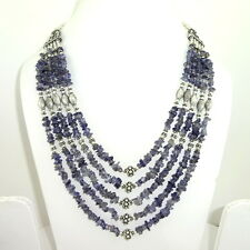 NATURAL REAL BLUE IOLITE CHIPS GEMSTONE BEADED BEAUTIFUL NECKLACE 92 GRAMS