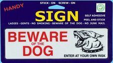 `Beware Of The Dog` Enter At Own Risk Sign New Self Adhesive or Screw on Plastic
