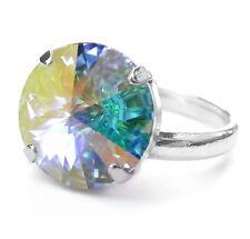 NEU Ring DAMENRING 14mm SWAROVSKI STEIN kristall AB/crystal AB EINHEITSGRÖßE