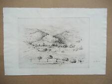 Original gravure/métal H. PERREAU ville sur colline
