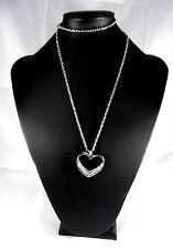 Kette lang Herz Modeschmuck Silber Strasssteine Halskette
