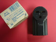 NOS! EAGLE 30A SURFACE POWER RECEPTACLE #1232-BOX BLACK