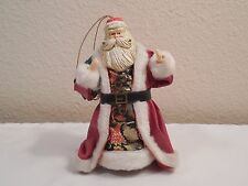"""Old Hand Crafted Santa Claus Figure Christmas Tree Ornament ~ 4 3/4"""" Tall"""