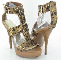 INC International Concepts Morgan Womens Brown Leopard High Heels Shoes 8.5