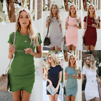 Womens Bodycon Tunic Dress Evening Party Solid Casual Sexy Prom Short Wrap Dress