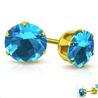 Blue Topaz color Stud Earrings Yellow Gold PVD Hypoallergenic