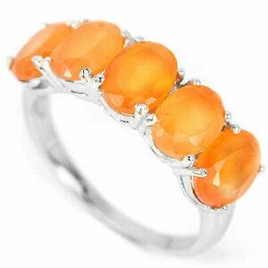 Ring Orange Fire Opal Genuine Natural Gems Sterling Silver Band Size O  US 7.25