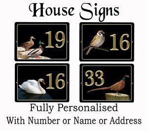 7 X 5 inch Bird plaques House / Caravan / Flat / Door PERSONALISED GOLD NUMBER