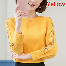 Chiffon Blouse Women Autumn Long Sleeve Ladies Office Shirts Korean Top WL Pink Tag Size M(us6 Eu38 Uk10)