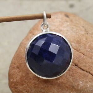Blue Sapphire Pendant 925 Sterling Silver Handmade Jewelry Birthday Gift For her